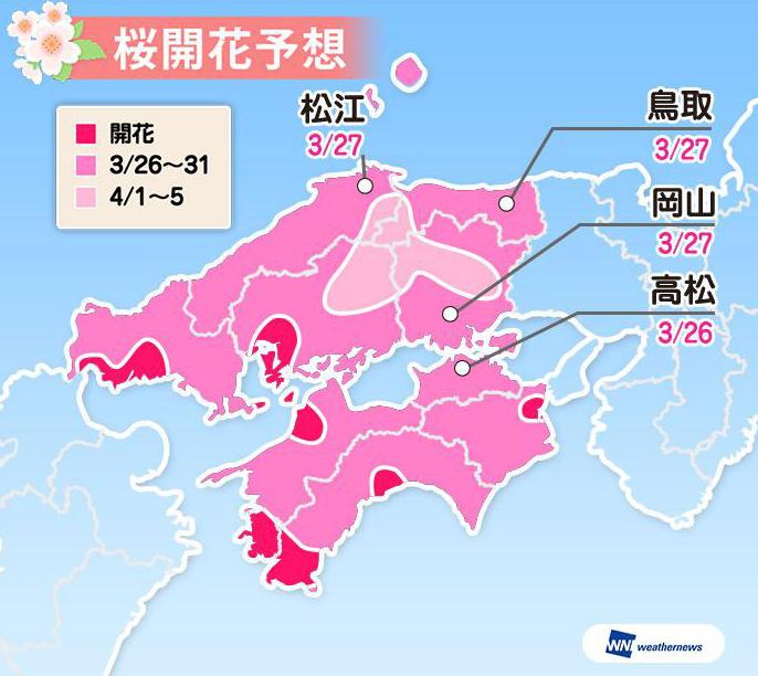 【2020日本櫻花預測】2019年日本全國櫻花滿開時間表